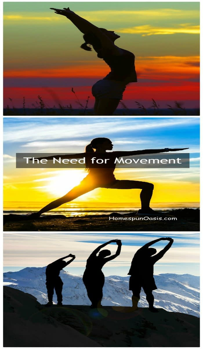 The Need for Movement | For people who sit most of the day, their risk of heart attack is about the same as smoking. The scientific community has dubbed this sitting disease. For your health, you have a need for movement! | HomespunOasis.com