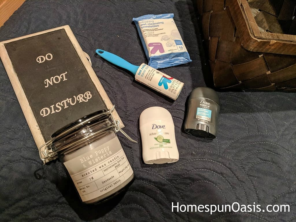 Essentials to a Welcoming Guest Room. | Provide a few items they may have forgotten. A little thoughtfulness goes a long way! | HomespunOasis.com