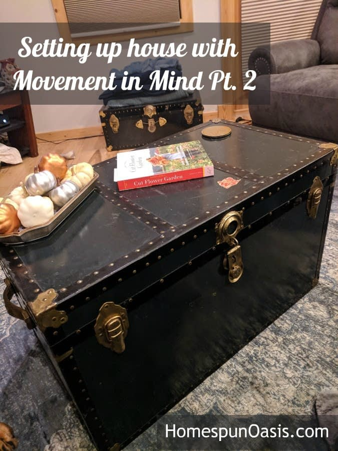 Setting up House with Movement in Mind Pt. 2   Use vintage chests for movement-oriented storage.   HomespunOasis.com